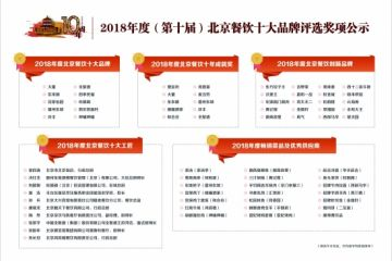2018年度(第十屆)北京餐飲十大品牌評選獎項公示