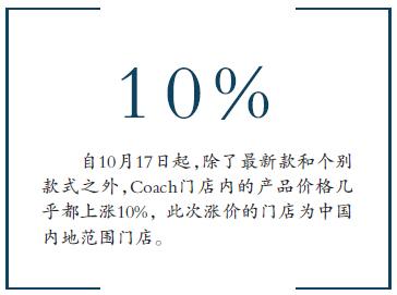Coach中國漲價10% 告別3000元檔位