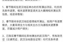 武漢所有演出項目支持無條件退票  大麥網應對肺炎疫情出臺退票政策