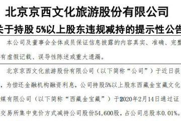北京文化股东西藏金宝藏违规减持5.46万股股份