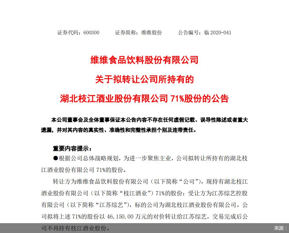 收购枝江酒业71%股份  江苏综艺集团再饮酒