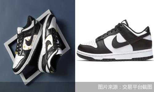 左为Supreme联名Nike SB Dunk Low,右为普款黑白熊猫Dunk