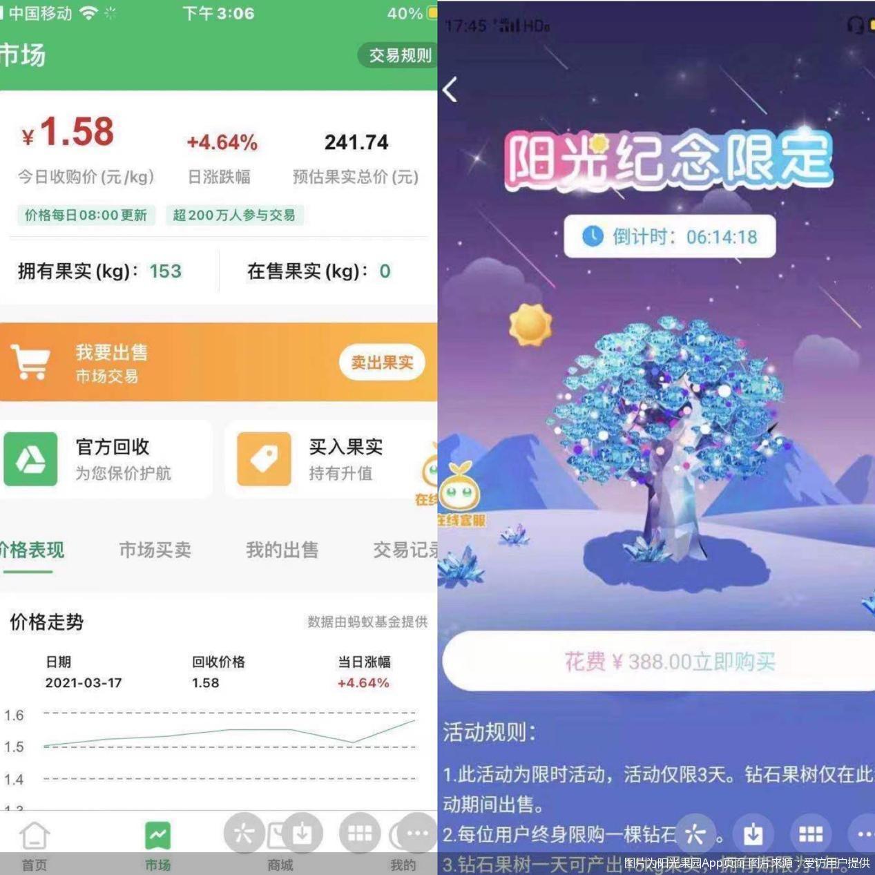 图片为阳光果园App页面 图片来源:受访用户提供