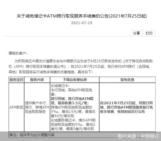 中国银行将对跨行同城、跨行异地ATM取现服务暂行免收手续费